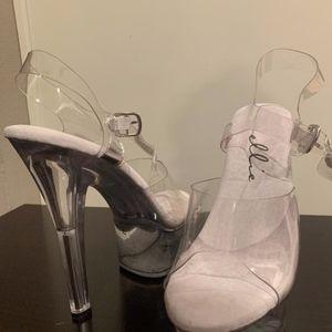 Clear Stripper heels size 7